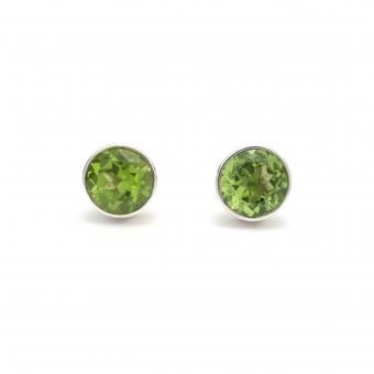 Cut peridot round silver stud earrings