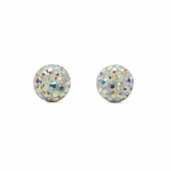 Rainbow crystal silver stud earrings