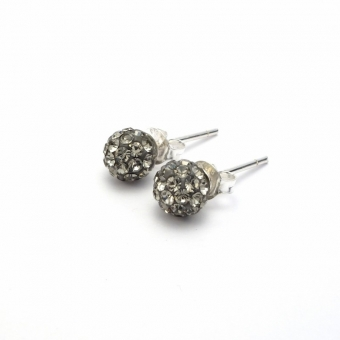 Pewter crystal disco ball stud earrings