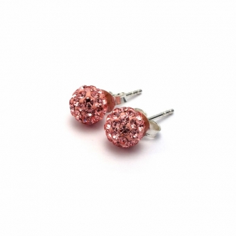 Pale pink crystal disco ball stud earrings
