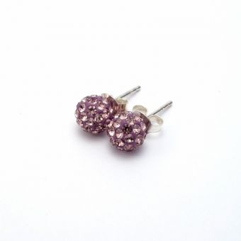 Light purple crystal disco ball stud