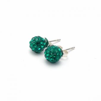 Dark green crystal disco ball stud earrings