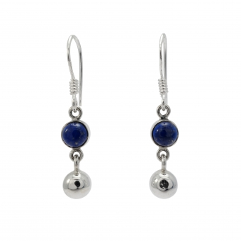Lapis ball silver hanging silver earring