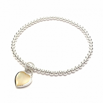 Silver balls bracelet with mother of pearl heart