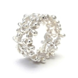 Daisy cluster silver ring