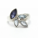 Iolite and blue topaz silver ring
