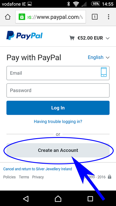 Pay with card by clicking create account
