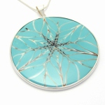 Turquoise shell silver pendant