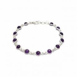 Dainty amethyst silver bracelet