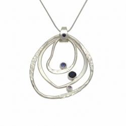 Iolite three rings silver pendant