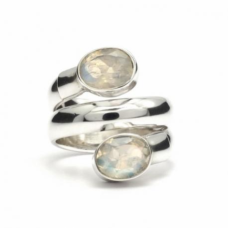 Wrap around moonstone silver ring