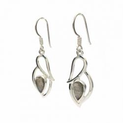 Dark green labradorite silver hanging earrings
