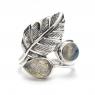 Labradorite silver leaf ring