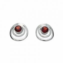 Red garnet silver circle stud earrings