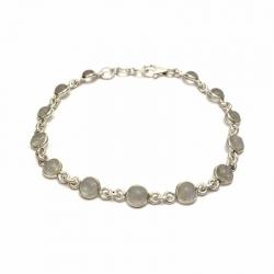 Dainty rainbow moonstone silver bracelet