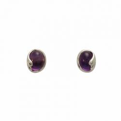 Purple amethyst silver curl stud earrings