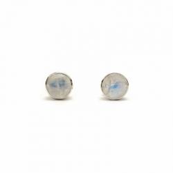Cut moonstone round silver stud earrings