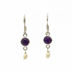 Amethyst and seed pearl silver hanging earring