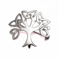 Celtic tree of life silver brooch