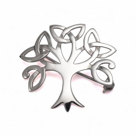 Celtic tree of life silver brooch