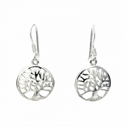 Tree of life silver hanging earrings