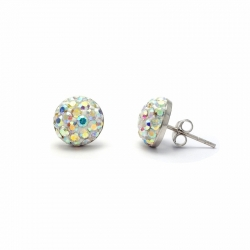 Rainbow crystal silver stud earrings