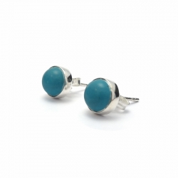 Polished turquoise silver stud earrings