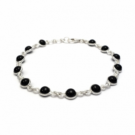 Dainty black onyx silver bracelet