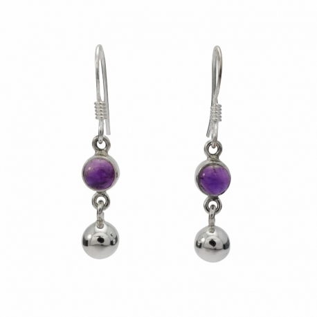 Amethyst ball silver hanging earring