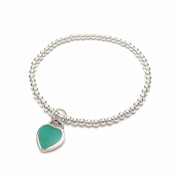 Silver balls bracelet with turquoise heart
