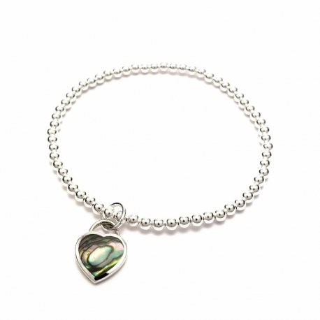 Silver balls bracelet with abalone shell heart