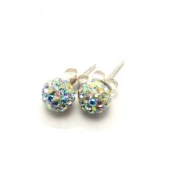 Rainbow crystal disco ball stud earrings