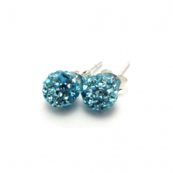 Pale turquoise crystal disco ball stud earrings