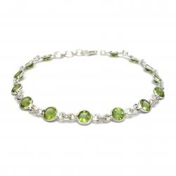 Cut peridot silver bracelet