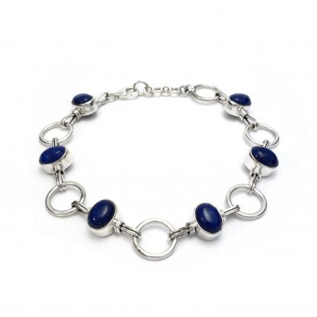 Dark blue lapis silver bracelet