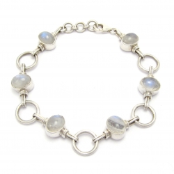 Rainbow moonstone silver bracelet