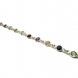 Multi coloured cut stone silver bracelet