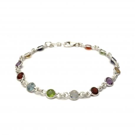 Multi Coloured Cut Stone Silver Bracelet Silver Jewellery Ireland