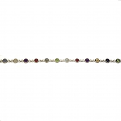 Multi coloured polished stone silver bracelet