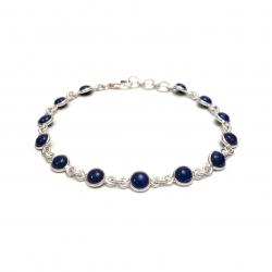 Dainty lapis lazuli silver bracelet