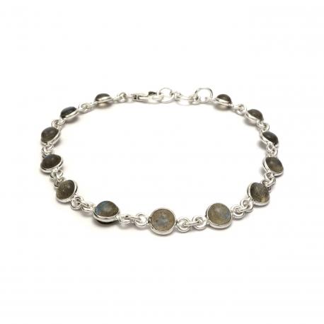 Dainty labradorite silver bracelet
