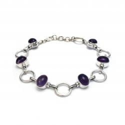 Purple amethyst silver bracelet