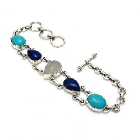 Turquoise, Lapis and Moonstone bracelet