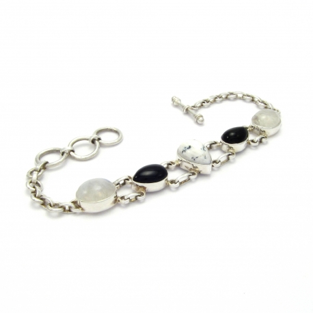 Onyx and rainbow moonstone silver bracelet