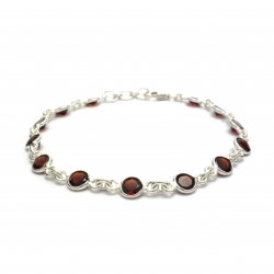 Cut garnet silver bracelet