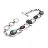 Garnet and labradorite silver bracelet