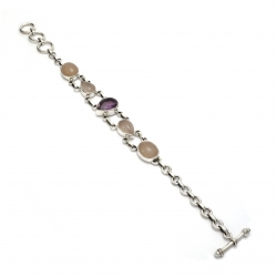 Amethyst and rose quartz silver bracelet