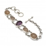Amethyst and rose quartz silver bracelet