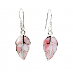 Pink shell leaf silver hanging earrings