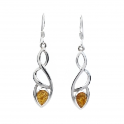 Celtic silver earrings with amber